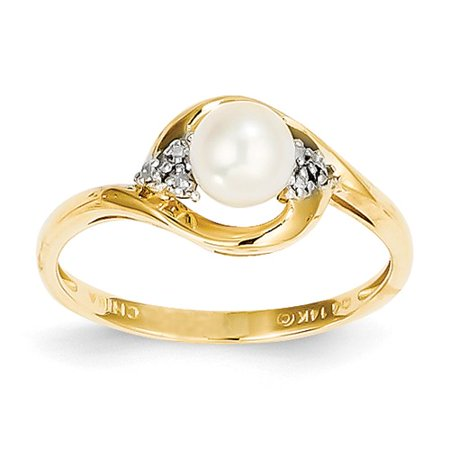 14k Yellow Gold 6x4 Oval Diamond & Pearl Ring Carat Wt- 0.02ct