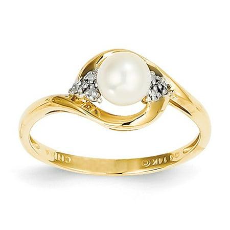 14k Yellow Gold 6x4 Oval Diamond & Pearl Ring Carat Wt- -