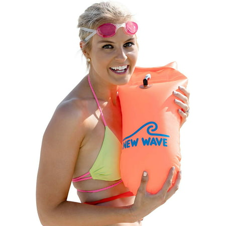 New Wave Swim Buoy - Swim Safety Float and Drybag for Open Water Swimmers, Triathletes, Kayakers and Snorkelers, Highly Visible Buoy Float for Safe Swim Training (Orange PVC (Open Water Swimming Equipment)