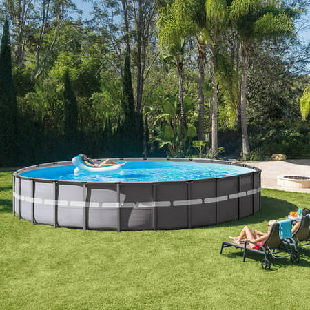 intex 26 x 52 ultra frame above ground swimming pool - Above Ground Pool Deck Off House