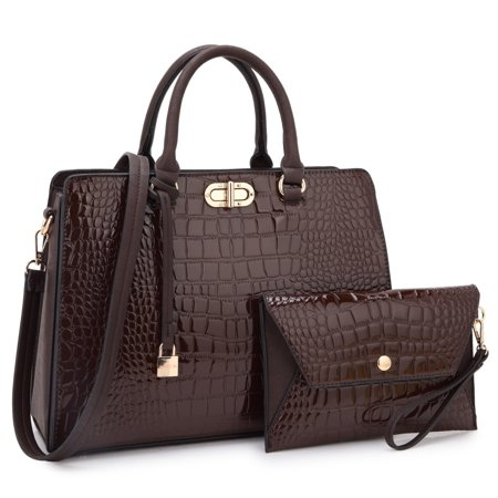 Dasein  Croco Faux Leather Twist Lock Dangling Padlock Satchel Handbag with Matching