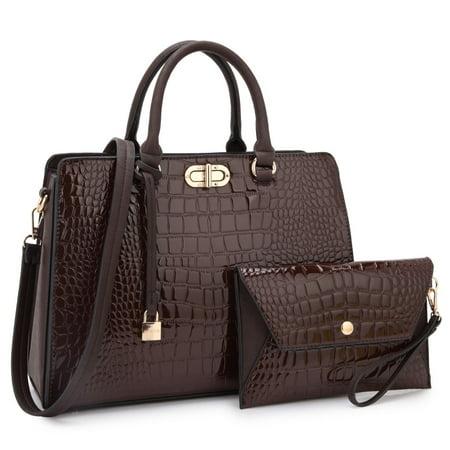 Dasein  Croco Faux Leather Twist Lock Dangling Padlock Satchel Handbag with Matching Wristlet Croco Leather Handbags