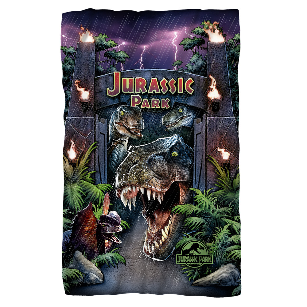 Jurassic Park Welcome To The Park Fleece Throw Blanket White One Size
