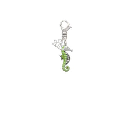 Silvertone Lime Green Seahorse - 2019 Clip on Charm](Seahorse Charm)