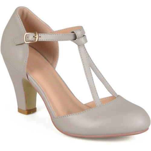 Womens Knot Round Toe T-strap Matte Mary Jane Pumps