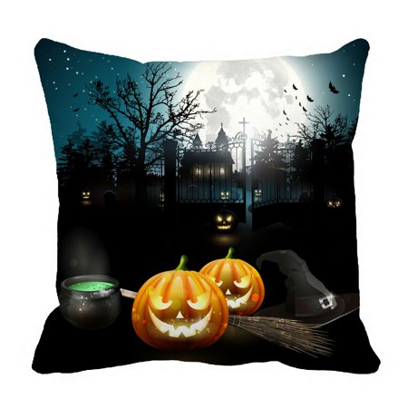 PHFZK Halloween Theme Pillow Case, Moon Pumpkin Castle Pillowcase Throw Pillow Cushion Cover Two Sides Size 18x18 inches - Halloween 2 Theme 2017