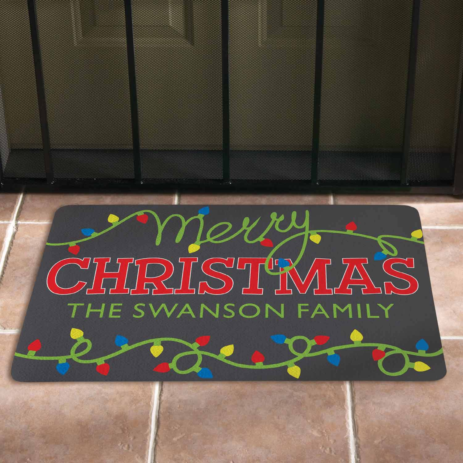 Personalized Merry Christmas Lights Doormat