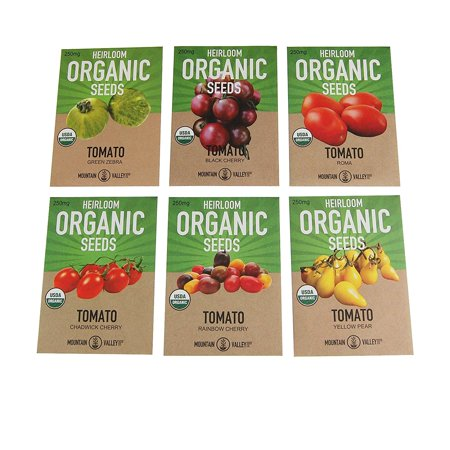 Organic Heirloom Cherry Tomato Garden Seeds - 6 Non-GMO Varieties: Yellow Pear, Chadwick Cherry, Black Cherry, Rainbow Cherry, Roma & Green
