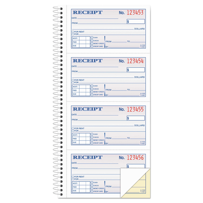 Adams 2-Part Rent Receipt Book, 2 3/4 x 4 3/4, Carbonless, 200 Forms