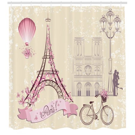 Kiss Shower Curtain, Floral Paris Symbols Landmarks Eiffel Tower Hot Air Balloon Bicycle Romantic Couple, Fabric Bathroom Set with Hooks, 69W X 70L Inches, Ivory Pink, by Ambesonne Eiffel Tower Fabric