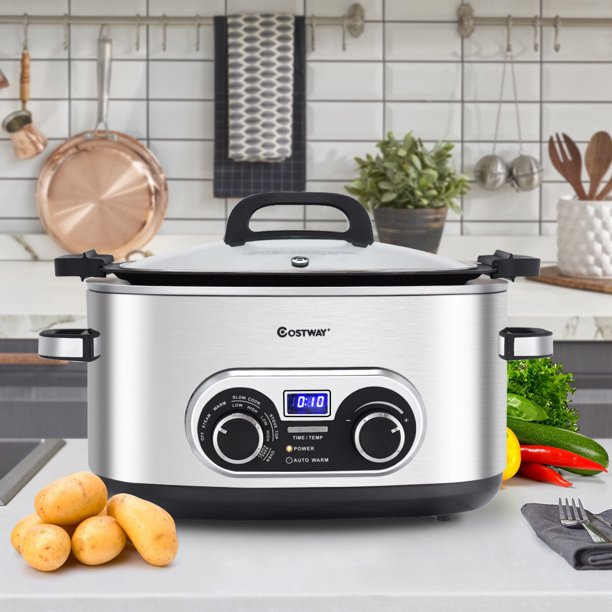 Costway 4-in-1 Multi Cooker 6 Quart Stainless Steel Slow Cooker Steamer Stove Top & Oven