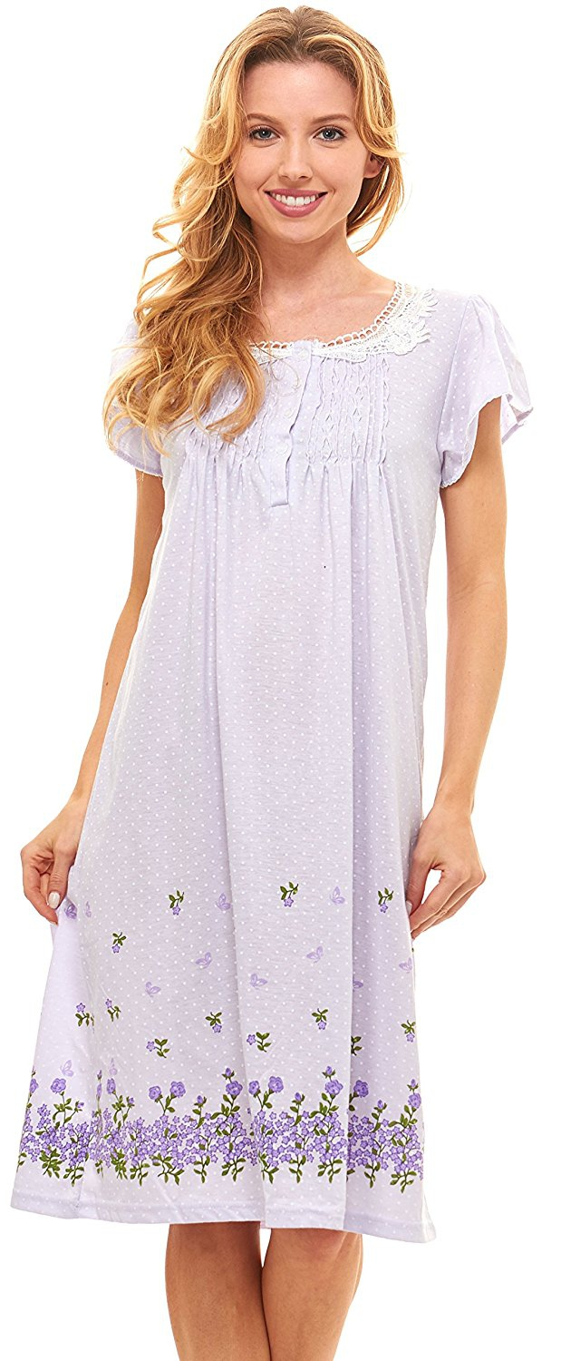 LILAC SLEEPSHIRT NIGHTGOWN PAJAMAS COTTON DOG SHORT CAP SLEEVE XL