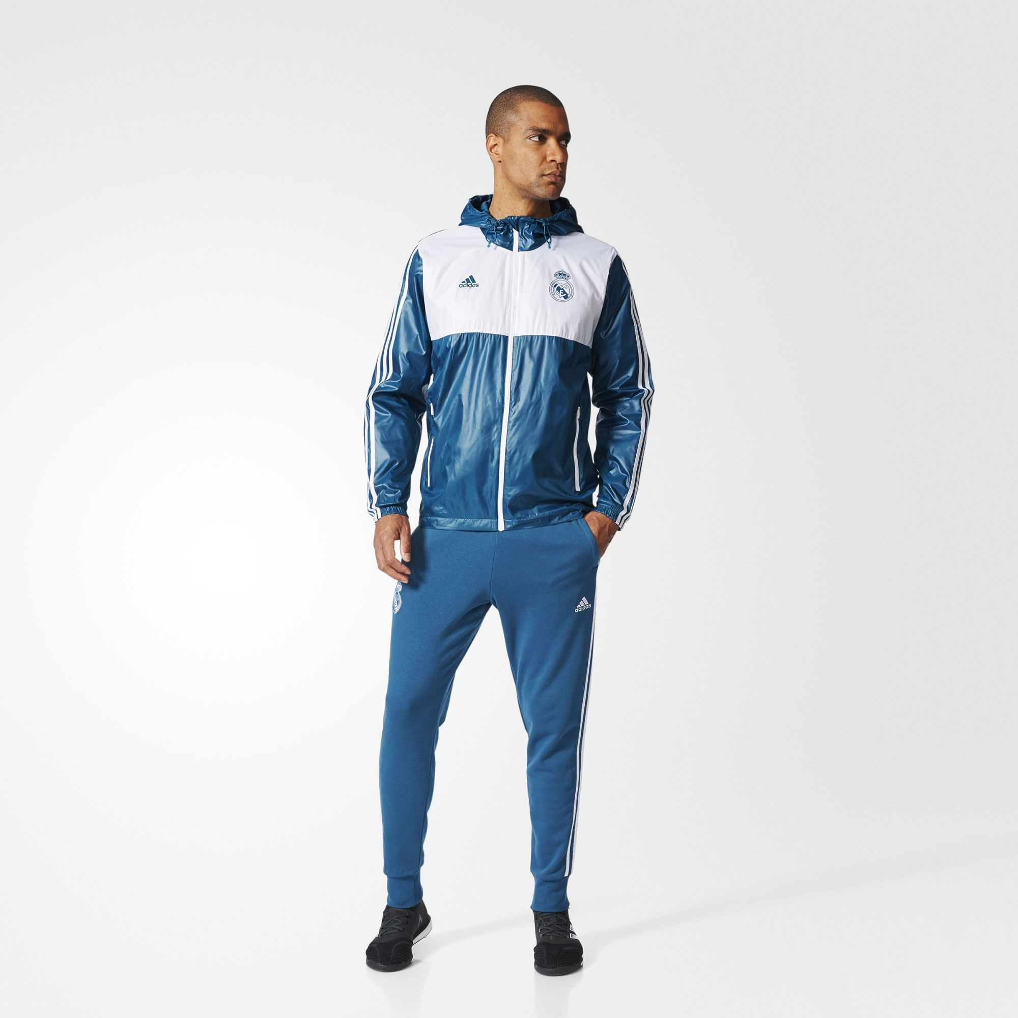 adidas Real Madrid 1718 3 Stripe Windbreaker Jacke PetrolWeiß