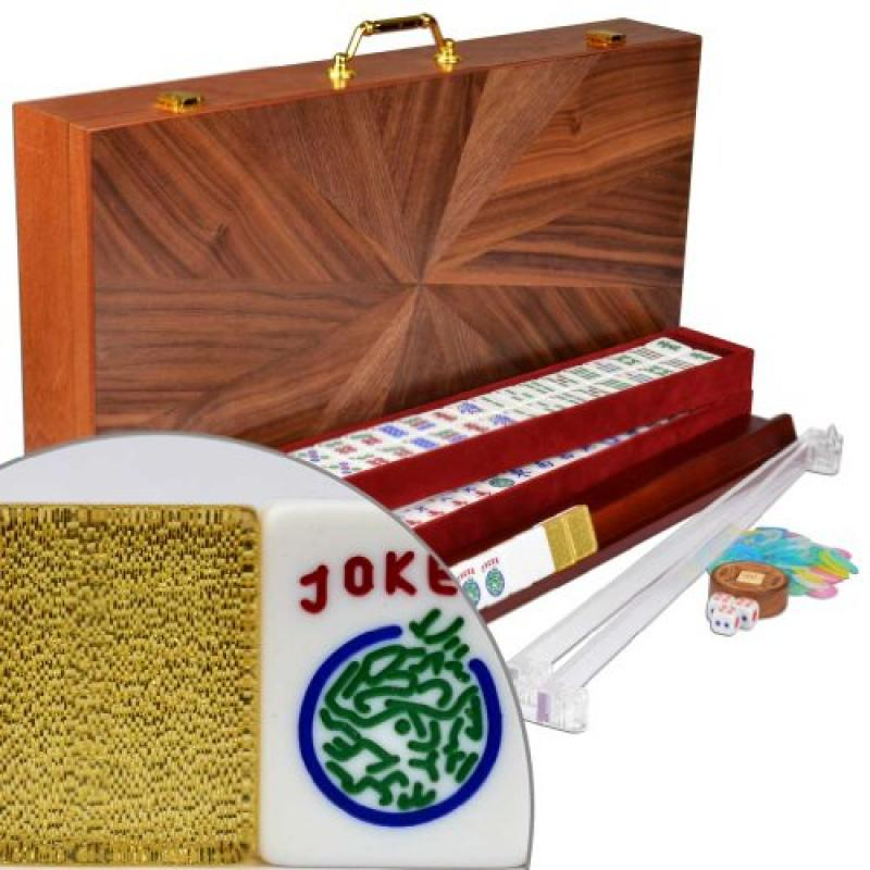 "Complete American Mahjong / Mah Jongg Set w/ Case, 166 Tiles, 4 Pushers, and 4 Racks - ""Golden Fortune"""