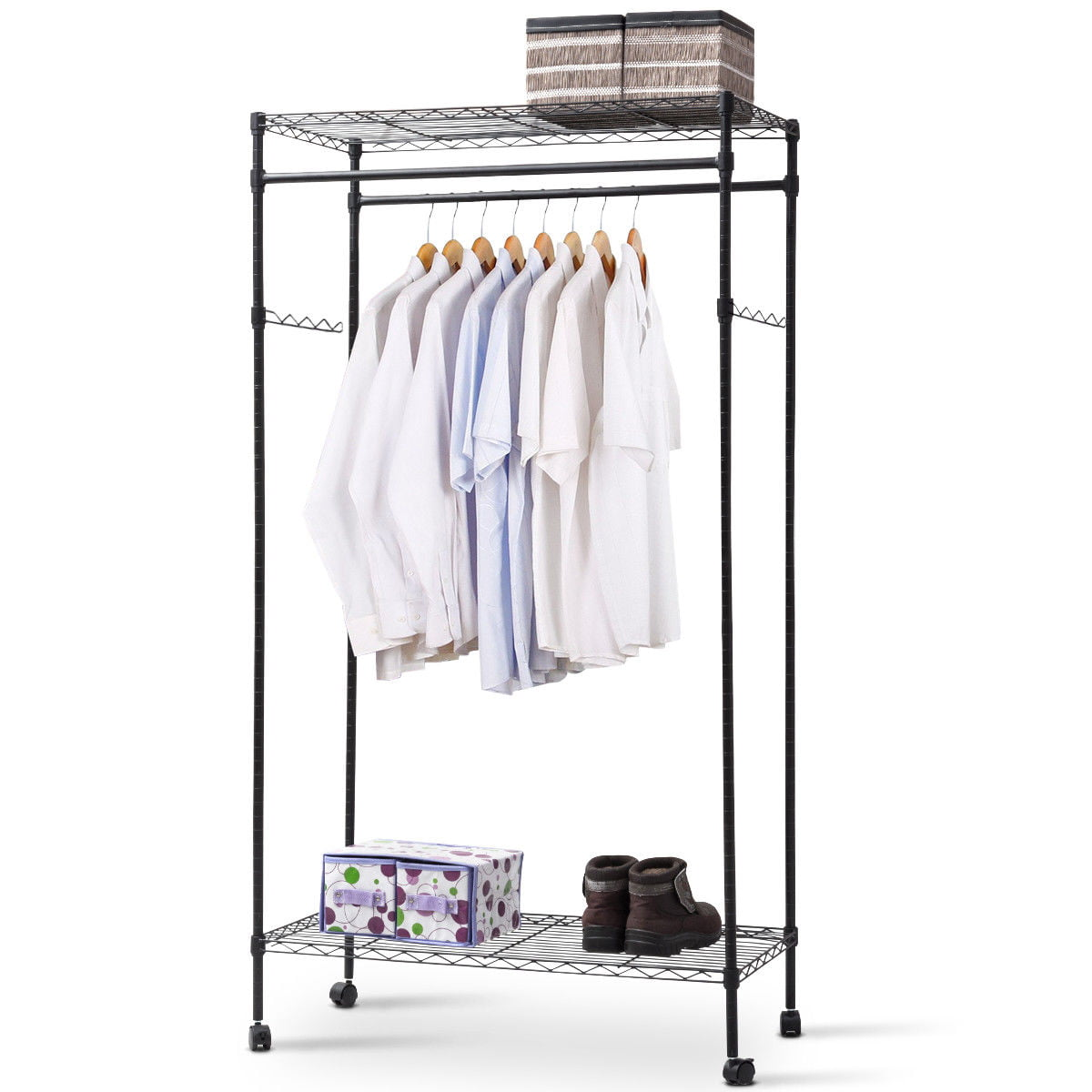 Rolling Closet Organizer Brown Clothing Garment Rack 2-in-1 Coat Rack Rolling Garment Rack Height Adjustable with 2 Storage Baskets,Lockable Wheels