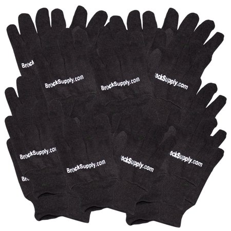 12 Pairs 1 Dozen Brown Jersey Knit Cloth Work Safety Gloves for Industrial Landscape Warehouse Household