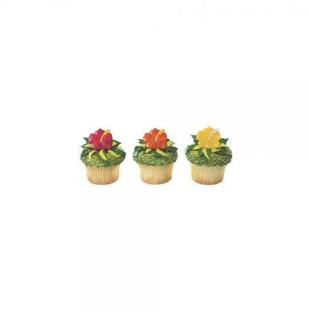 1 X 12 Beautiful Hawaiian Hibiscus Flower Cupcake Rings by BAKERY