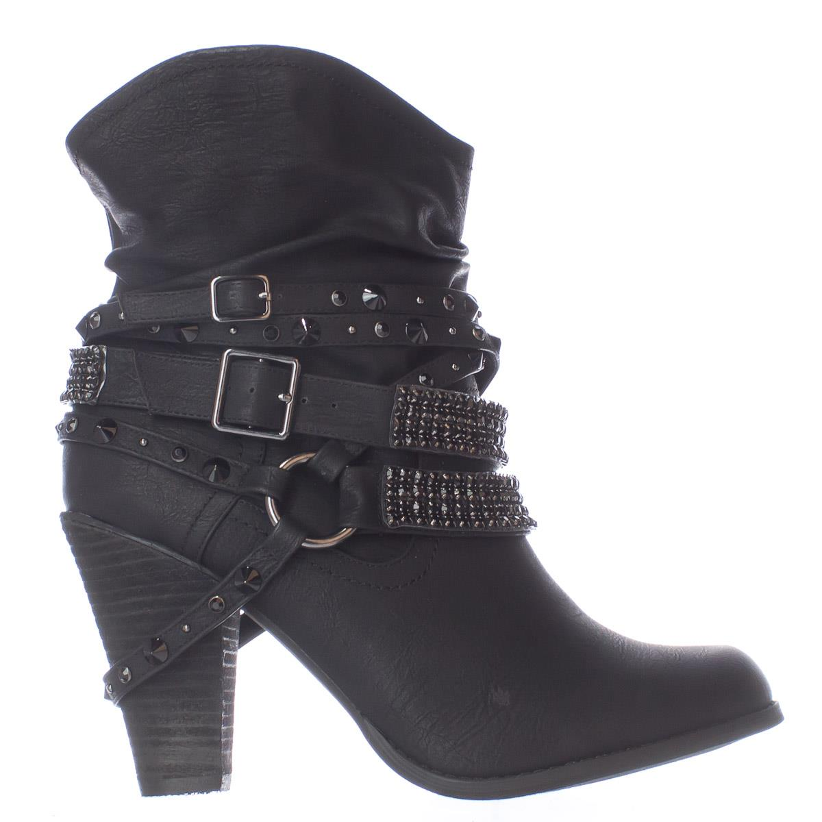 df968b00c1cb Not Rated - Womens Not Rated Swalini Multi Studded Straps Ankle Boots -  Black - Walmart.com