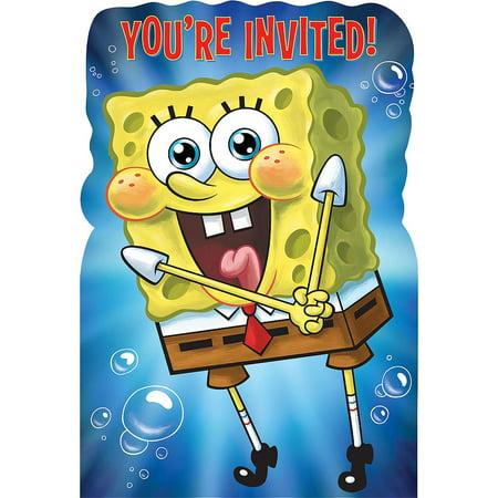 Nickelodeon Spongebob Squarepants Birthday Party Invitation 16 Count with Envelopes - Customized Spongebob Invitations