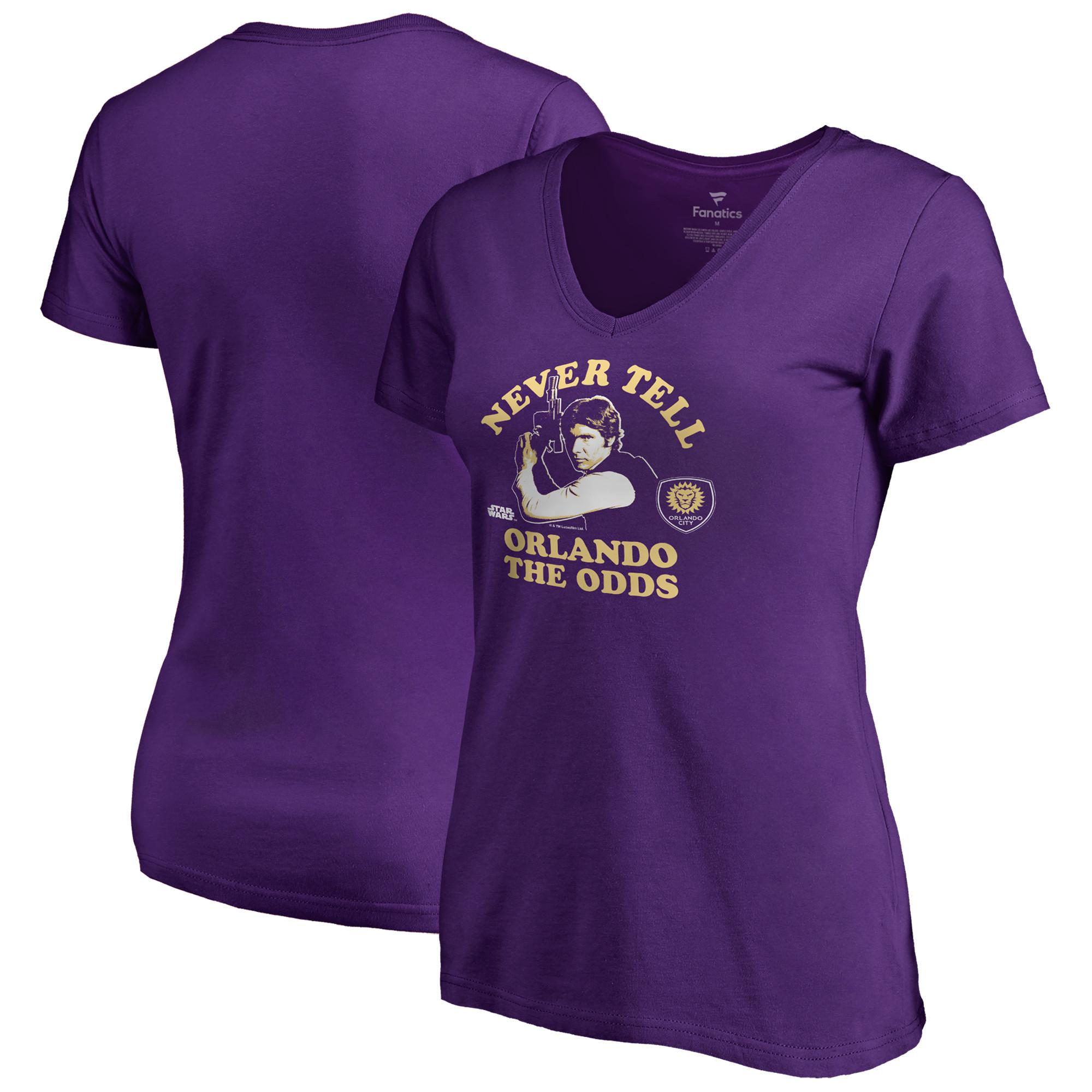 Orlando City SC Fanatics Branded Women's Star Wars Never Tell the Odds V-Neck T-Shirt - Purple