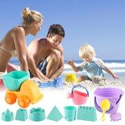 Beach Sand Toys Set for Kids Toddlers 11Pcs Beach Toys Sandbox Toys with Sand Truck Bucket Shovels Rakes Beach Castle Molds