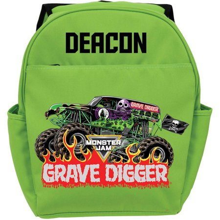 Personalized Monster Jam Grave Digger Green Youth Backpack (Personalized Backpacks For Adults)