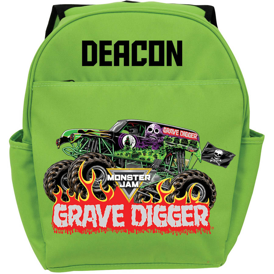 Personalized Monster Jam Grave Digger Green Youth Backpack