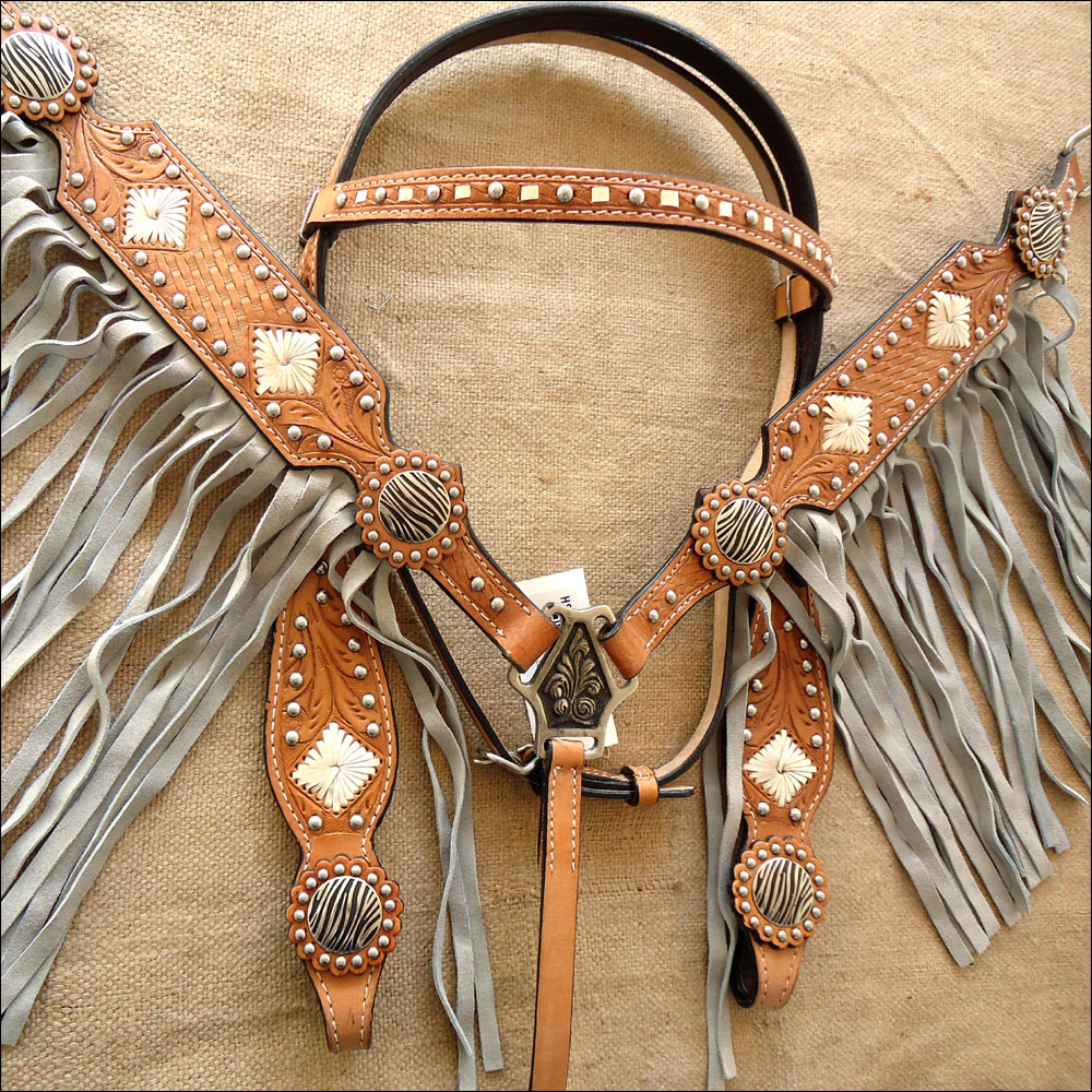 WESTERN LEATHER HORSE BRIDLE HEADSTALL BREAST COLLAR SET ...