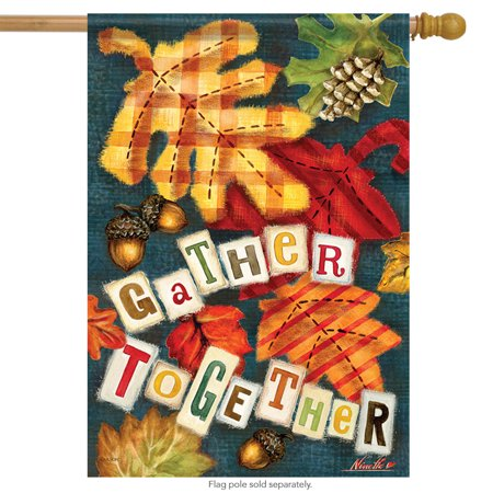 Left Side Banner - Gather Together Fall House Flag Leaves Autumn  Double Sided Banner 28