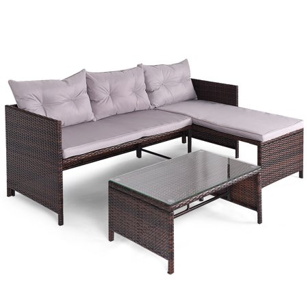 Gymax 3pc Rattan Furniture Sofa Lounge Chaise Set Outdoor