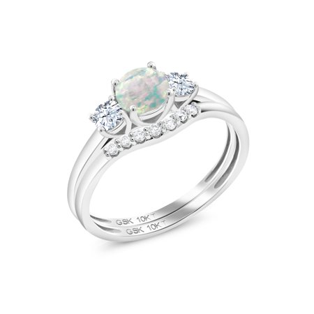 0.83 Ct Round Cabochon White Simulated Opal White Created Sapphire 10K White Gold Lab Grown Diamond Ring