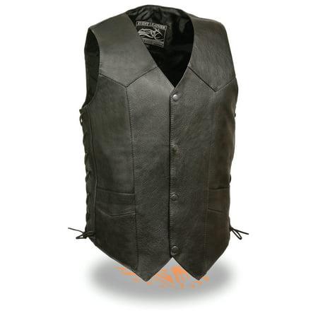 Classic Cowhide Vest - Mens Classic Leather Side Lace Biker Vest