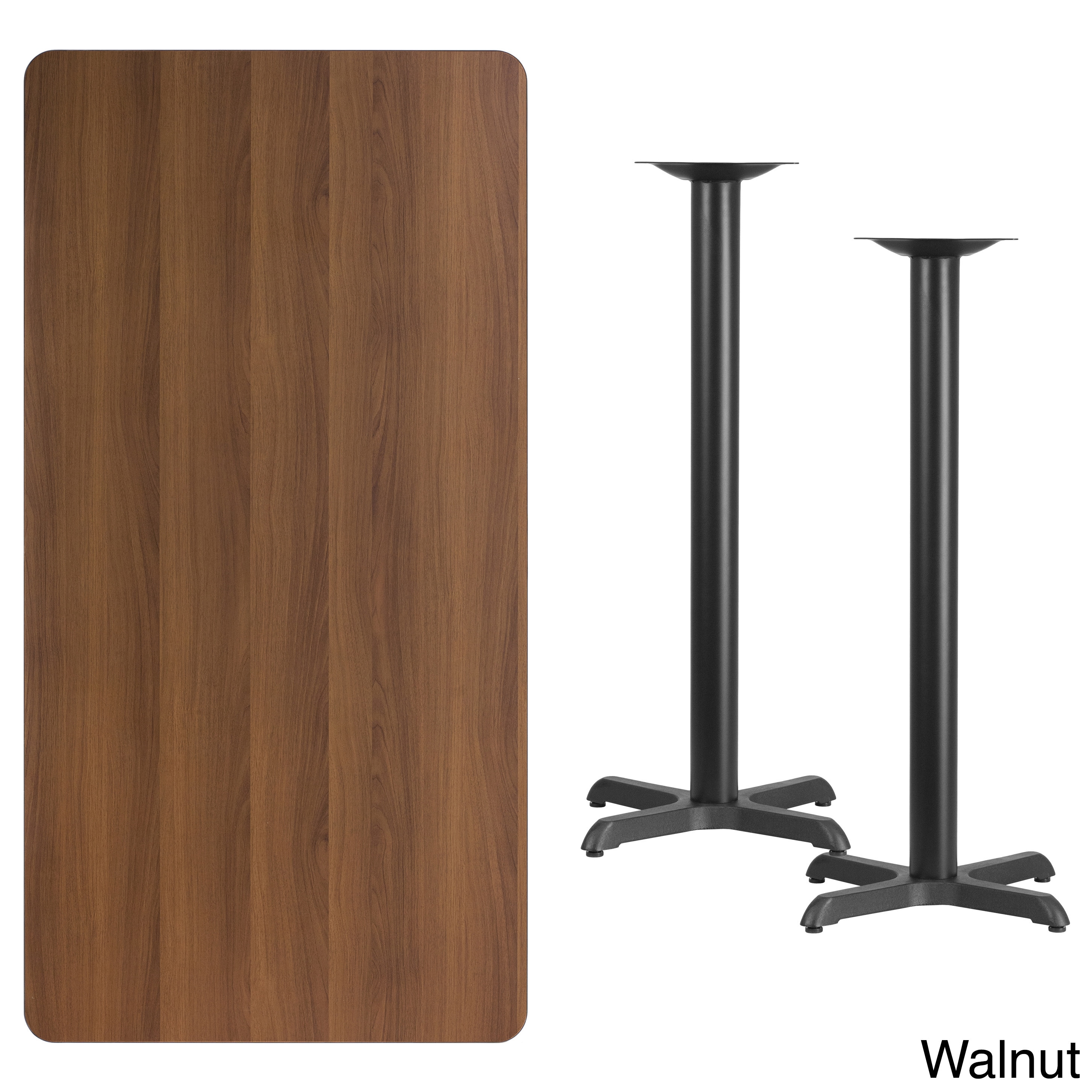 Lancaster Home 30x60-inch Rectangular Laminate Table Top with 22x22-inch Bar Height Table Bases