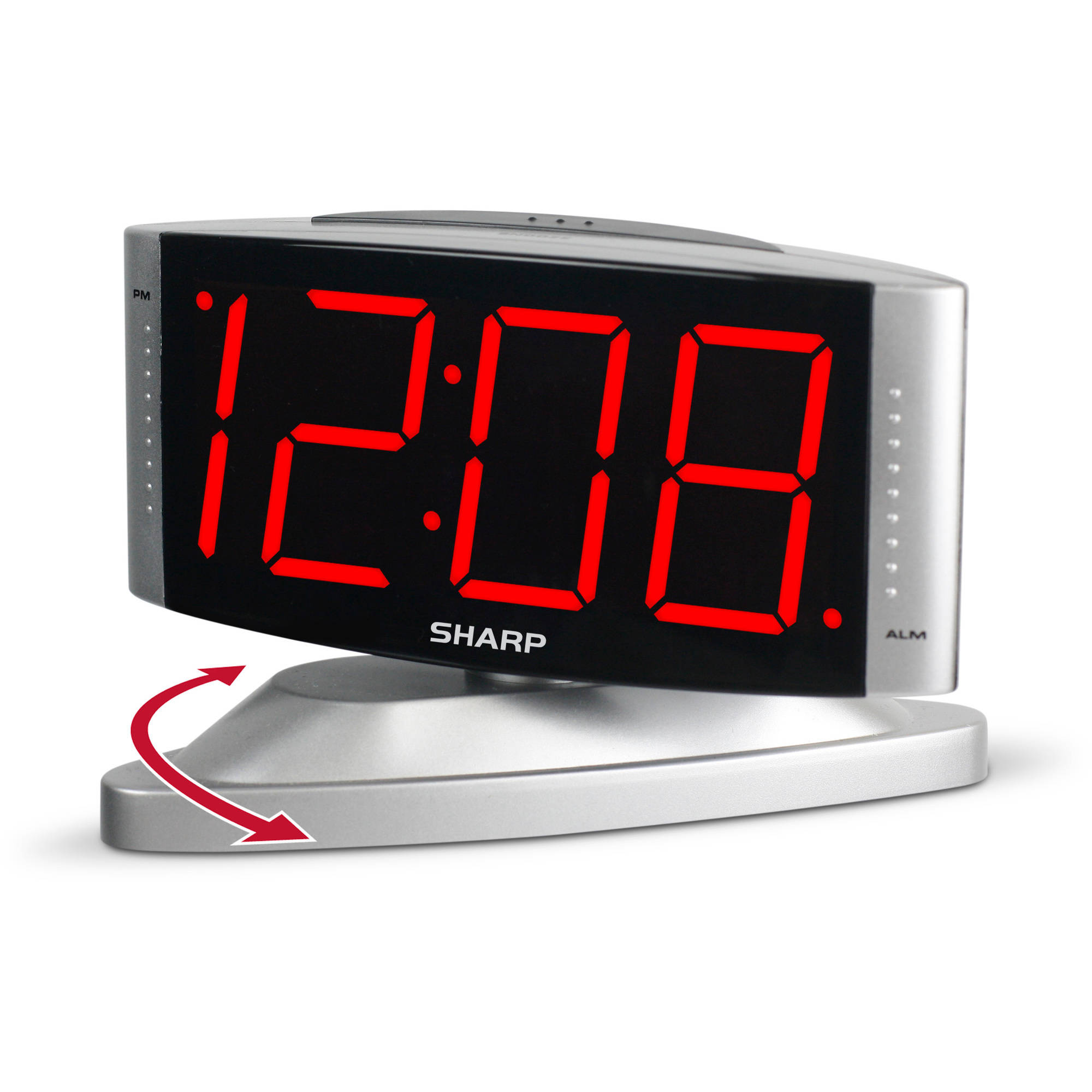 Sharp Red LED Swivel Alarm Clock, Silver