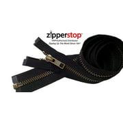 "ZipperStop Wholesale Authorized Distributor YKK® 27"" inch Medium Weight Jacket Zipper YKK #5 Antique Brass ~ Separating ~ 580 Black (1 Zipper/pack) Crafter's Special"