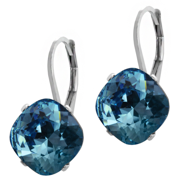 Collection Blue 925 Silver Earrings Created with Swarovski�� Crystals