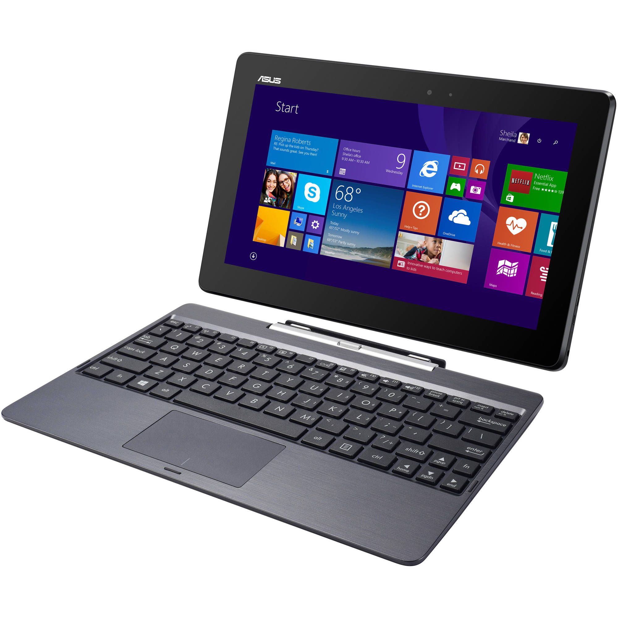 """ASUS Gray 10.1"""" Transformer Book T100TA-C1-GR-B Netbook Laptop PC with Intel Atom Z3740 Processor, 2GB Memory, Touchscreen, 64GB Solid State Drive and Windows 8.1 with Bing"""