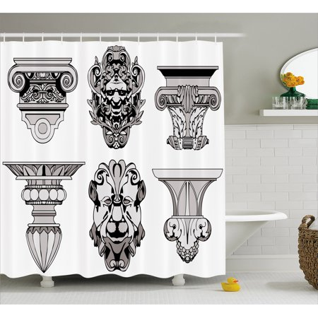 Toga Party Shower Curtain, Roman Architectural Decorations Sphinx Lion and Column Antique Design, Fabric Bathroom Set with Hooks, 69W X 70L Inches, Light Grey Black, by Ambesonne