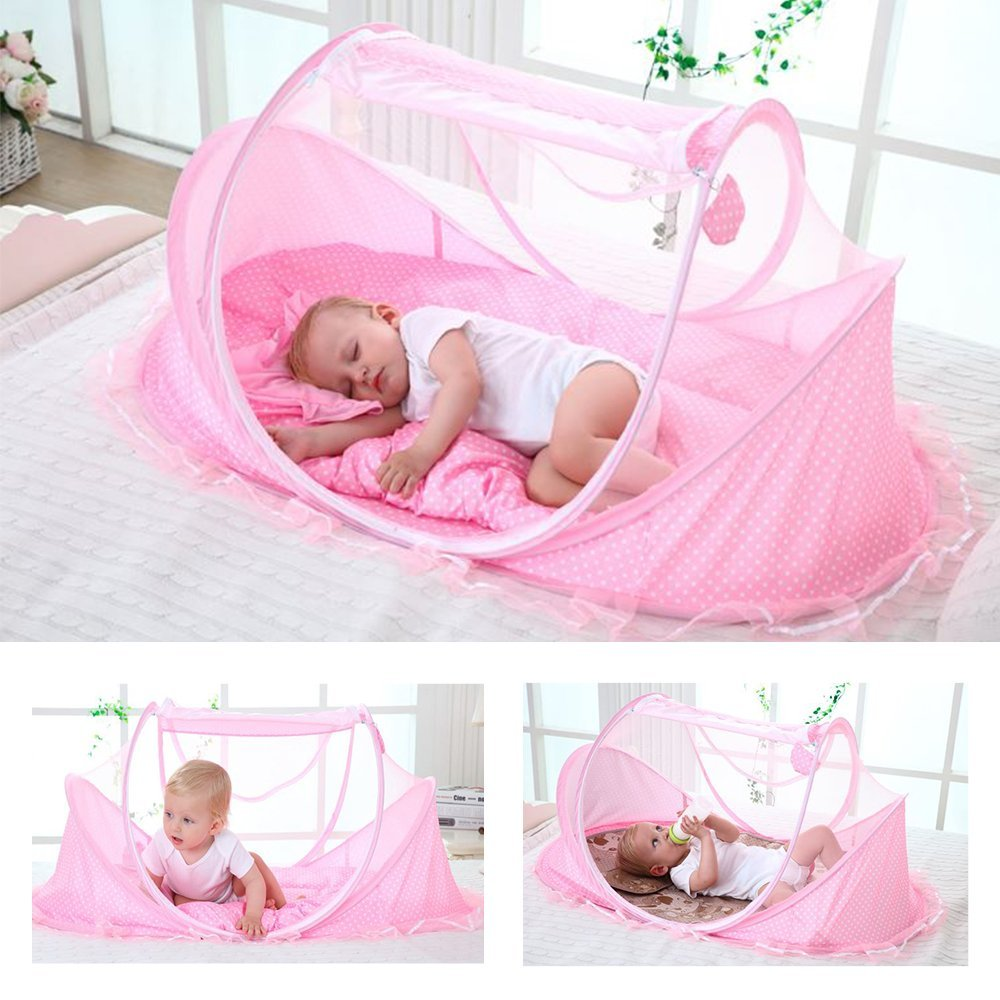 Baby Travel Bed - Foldable Zippered Baby Mosquito Net Soft Crib Portable Large Baby C& Tent & Baby Travel Bed - Foldable Zippered Baby Mosquito Net Soft Crib ...