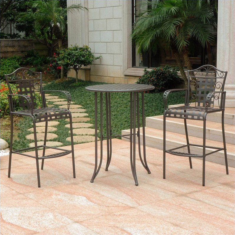 International Caravan Mandalay Iron 3-Piece Bar Height Outdoor Bistro Set, Brown
