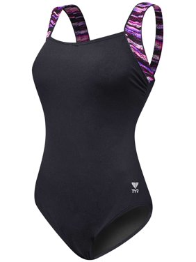 a6035a435e1f4 Product Image TYR Women s Bellvue Stripe Control Fit Swimsuit (Black  Purple