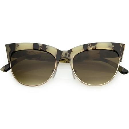 Women's Oversize Semi Rimless Cat Eye Sunglasses Square Lens 52mm (Creme Marble / Smoke (Semi Rimless Aviator Sunglasses)