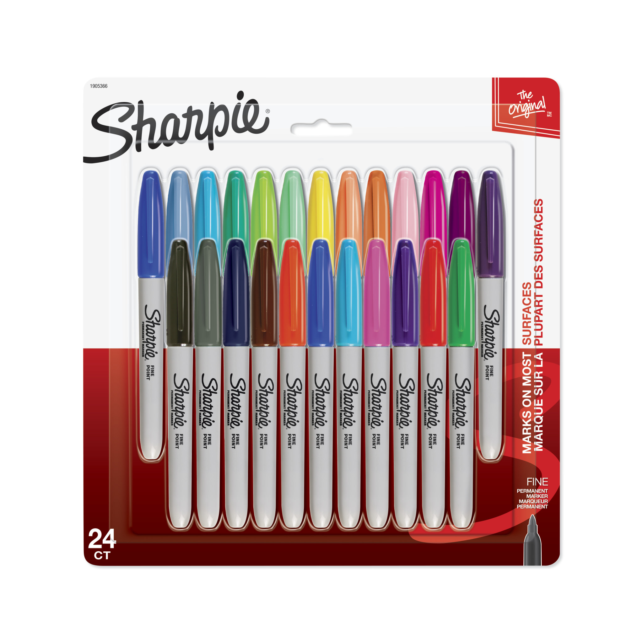 Sharpie Permanent Markers, Fine Point, Assorted Colors, 24 Count