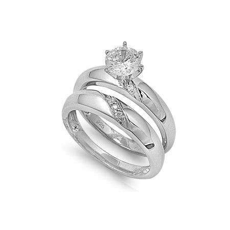 Round Center with Round & Baguette Stones Cubic Zirconia Wedding Set Ring Sterling Silver 925