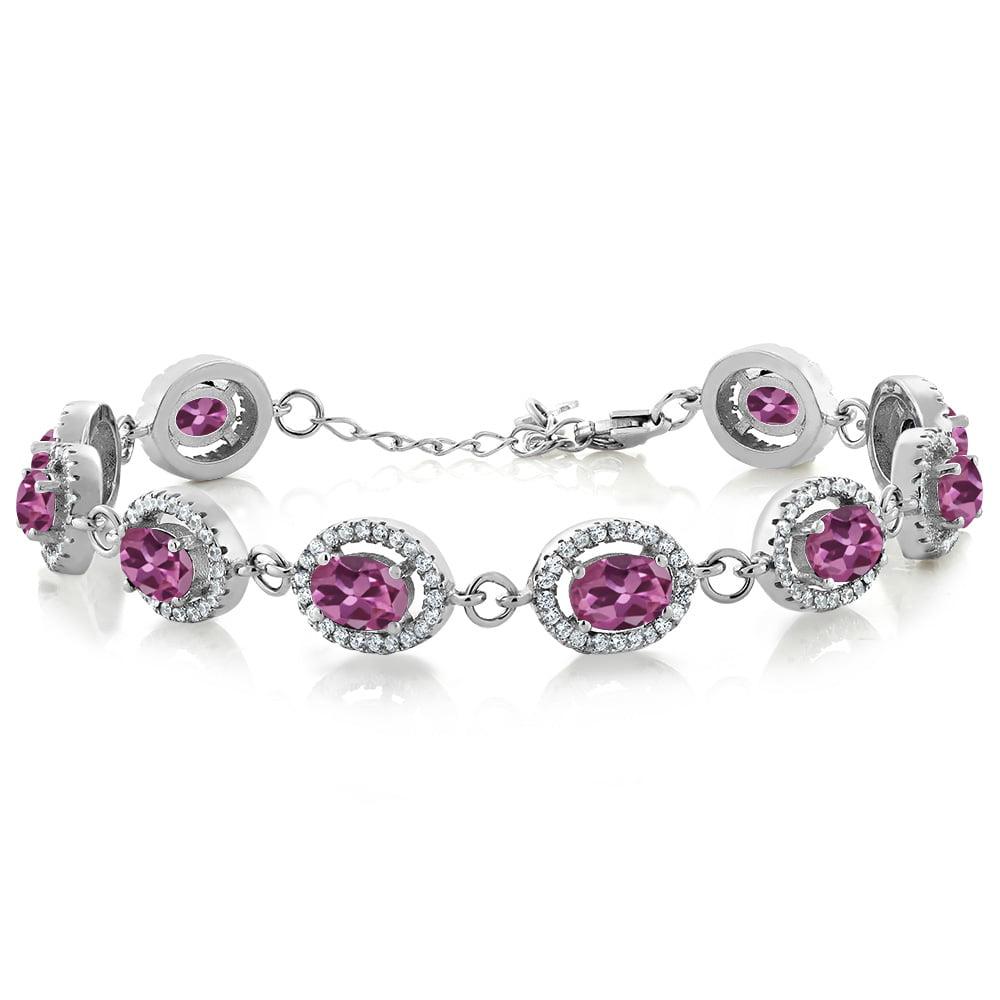 11.38 Ct Oval Pink Tourmaline 925 Sterling Silver Bracelet by