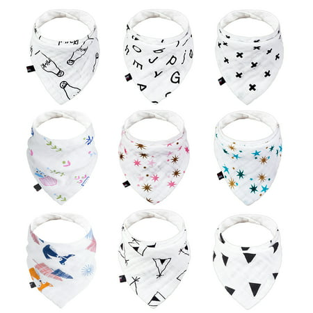 JML 100% Natural Cotton Baby Infant Drool and Teething Bibs Set, Soothingly Soft Chafe-Free Comfort,Absorbent, Snap for Adjustability- 9 Pcs in Pack