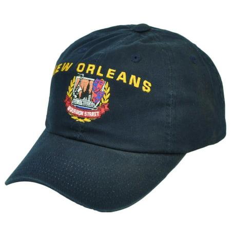 New Orleans Bourbon Street Navy Blue State Relaxed Hat Cap Sun Buckle USA City (Bourbon Street New Orleans Halloween)