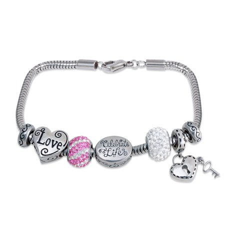 """Connections from Hallmark Stainless Steel Limited Edition """"Love"""" Charm Bracelet Set"""