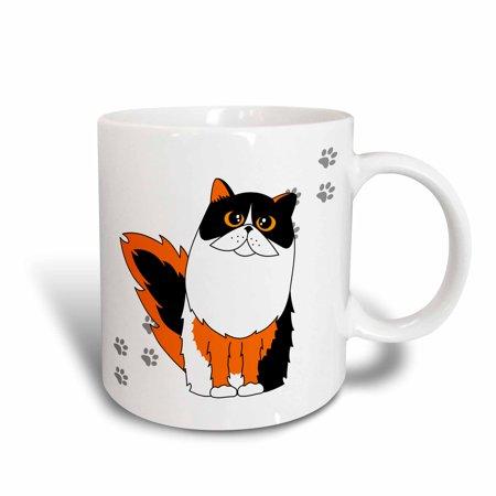 3dRose Calico Long-haired / Persian Cat White Paw-print, Ceramic Mug,