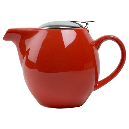 Design 24 Ounce Teapot - OmniWare Teaz Red Stoneware 24 Ounce Teapot with Stainless Steel Infuser
